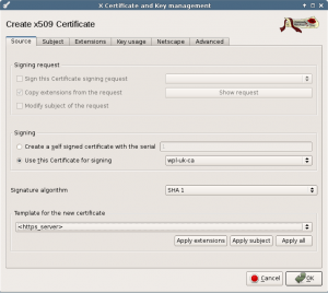 Create server certificate